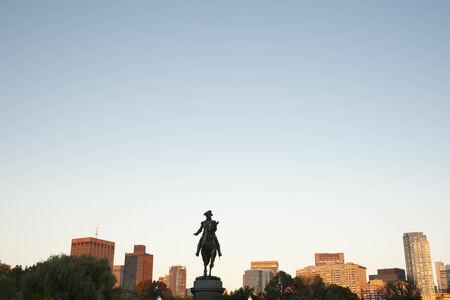 statue: The George Washington Monument set against a blue sky in Boston Public Garden, Stock Photo