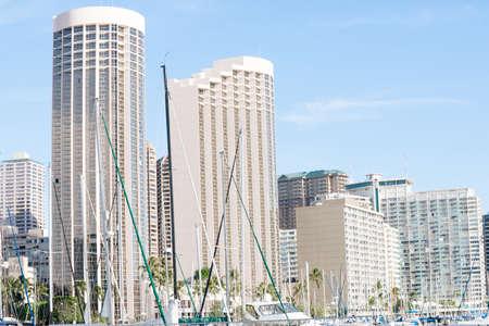 honolulu: Commercial skyline of high-rise buildings, Honolulu, Hawaii.