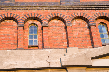 victorian architecture: Close up Heritage close up brick and construction of Invercargill Water Tower, constructed 1889.