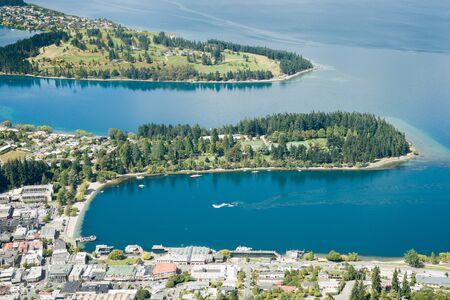 wakatipu: Queenstown on shores of Lake Wakatipu, an inland lake (finger lake) in the South Island of New Zealand Stock Photo