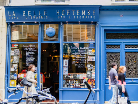 paris: La belle Hortense famous wine bar and bookshop in Marais District Paris France. Editorial