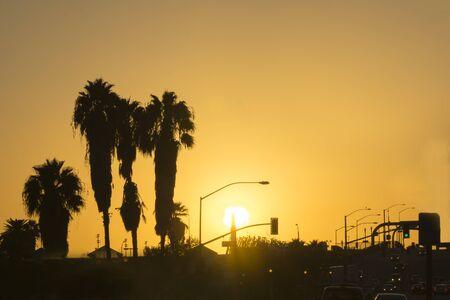 bernardino: Golden San Bernardino sky at rush hour. Stock Photo