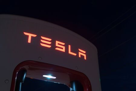 Shamrock, Texas- Spetember 11, 2015; Tesla battery recharge station Shamrock Texas USA