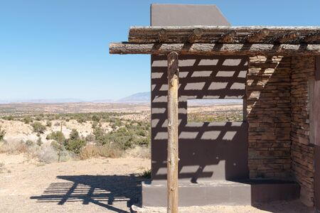 arizona landscape: Public observation point constructed with viewing window to frame view across Arizona landscape