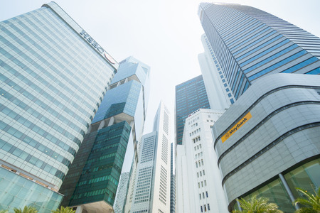 commercial real estate: Singapore August 18 2015-Singapore city buildings, tall high-rise modern commercial towers homes to major banking companies and offices. Editorial