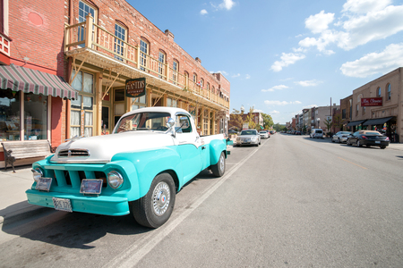 Editorial image, Restored retro Studebaker truck parked outside Planters Restaurant in Main Street Hannibal Missouri USA historic hometown of Mark Twain. Editorial