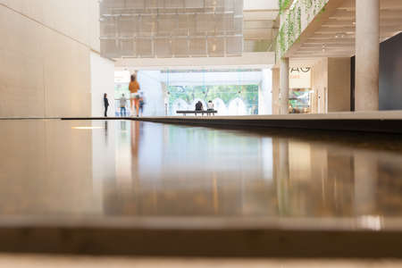 water feature: Brisbane, Australia - April 26, 2016: Modern interior architecture glossy floor surface cross water feature inside Queensland Art Gallery  Queensland Australia.