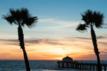 sway: Tropical palms sway in breeze under colorful sunset on Manhattan Beach California with famous pier in silhouette Editorial