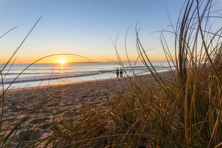 Papamoa beach, thorugh the marram beach grass looking into sunrise with two small unidentifiable walkers in distance.