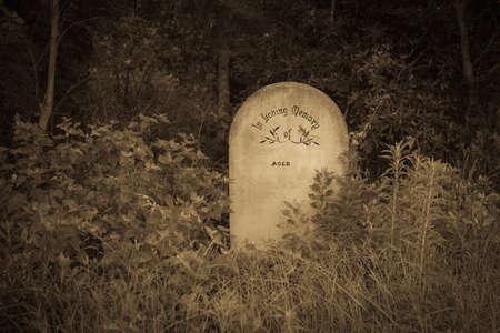 in loving memory: Single Concrete headstone contrasts in bush in old style sepia tones Stock Photo