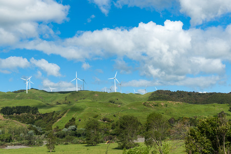 Rolling New Zealand farmland with wind turbines on horizon. Stock Photo