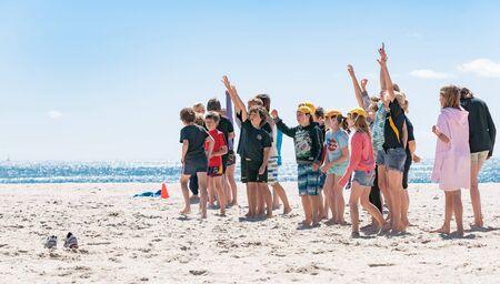 salvavidas: Mount Maunganui, Nueva Zelanda - 4 de noviembre de 2012; Pinzas de entrenamiento evento en el Monte Maunganui Beach responden a su entrenador que levanta los brazos de señalización que saben responder.