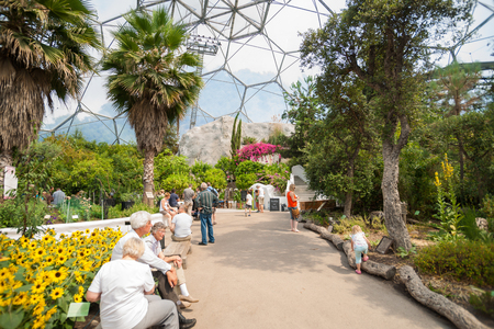 eden: Cornwall, England - July 24, 2013: Eden Project visitors  observing the plants displays or seated resting up inside one of gaint domes Mediterranean Biome featuring plants from that region