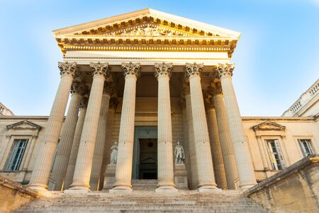 corinthian column: Steps leading to entrance between columns Court of Law building in Montpellier, France