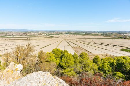 Interesting agricultural patterns in French Languedoc -Herault countryside Stock Photo