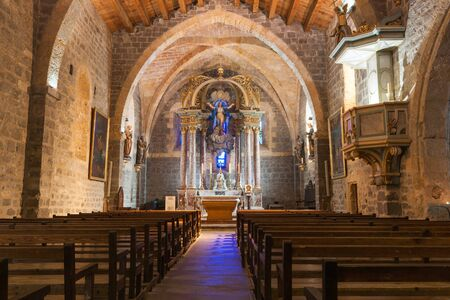Gruissan France - October 11, 2016; Ornately decorated Inside  Church of Gruissan Notre dame de LAssumption
