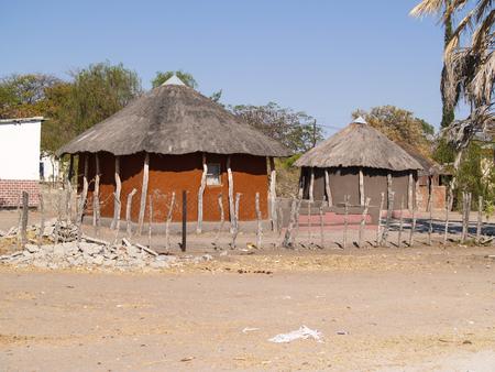 Small African village road, homes  of Gweta Botswana