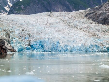 Ice flow of glacier in Tray Arm fjord Alaska. Stock Photo