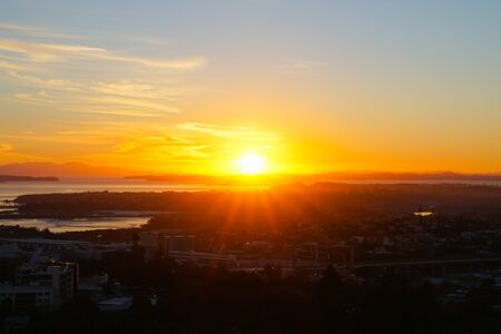 Sunrises defocused with abstract effecto over Auckland from top Mount Eden