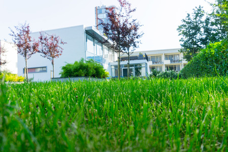 ROTTERDAM, HOLLAND- AUGUST 23, 2017; Green lawn in selective focus leading to historic 1930s residence known as Sonneveldt House  preserved in it original art deco style as a museum