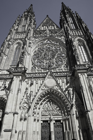 PRAGUE - CZECH REPUBLIC - AUGUST 30 2017; Vertical towering spires of Gothic architecture of Saint Vitus Cathedral In Prague. Editorial
