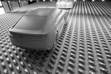 MUNICH GERMANY _ SEPTEMBER 10 2017; Wall of art installation in Pinakothek of classic Audi coupe car Museum in Munich in monochrome. Sajtókép