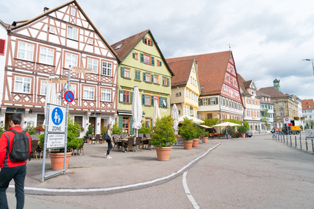ESSLINGEN GERMANY - SEPTEMBER 13 2017; Picturesque small German town of Esslingen streets and brightly colored buildings.