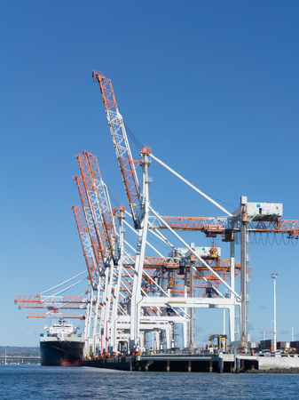 TAURANGA, NEW ZEALAND - JULY 30 2018; Port of Tauranga  Sulphur Point container berths with large white and orange cranes reaching skyward. Editorial