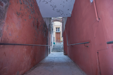 Grungy red walls and alleyway leading to distant step and door entrance.