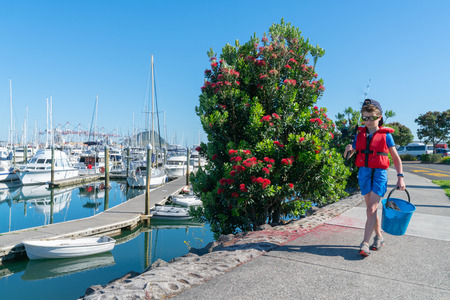 Small boy walking to pier past red flowering pohutukawa tree on eadge of marina with fishing rod and bucket going fishing