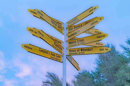 Famous places pointed by sign in Christchurch New Zealand Editorial