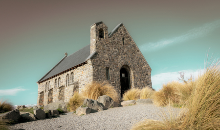 Aged effect image of iconic  Church of Good Shepherd and surrounds at Lake Tekapo New Zealand