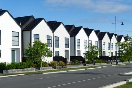 Suburban street new row houses modern high density living environment