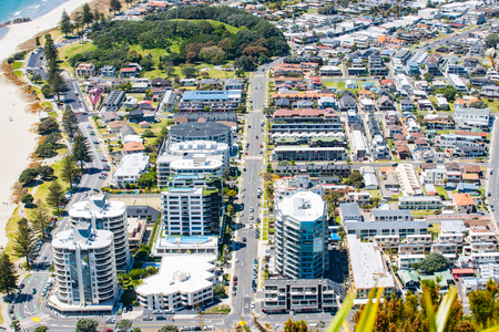 View from top of Mount Maunganui to streets and apartment  buildings below, Tauranga New Zealand.