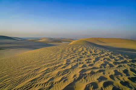 Desert at sunrise rolling wind rippled sand dunes under blue sky.