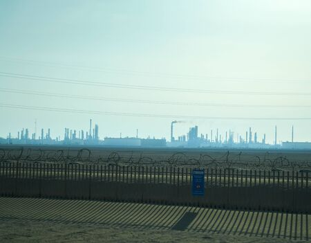 Industrial desert of Qatar outside Doha in the expansive desert industrial advances have made their way