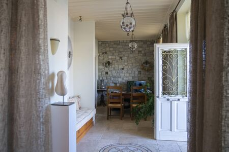 Mourayio office and entrance in stylish and comfortable Bed and Breakfast, Ermioni, Pelonponesse Peninsula Greece. Stock Photo
