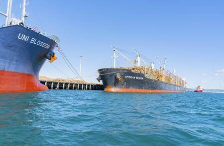 Tauranga New Zealand - September 21 2019; Port of Tauranga wharf with cargo vessels moored alongside