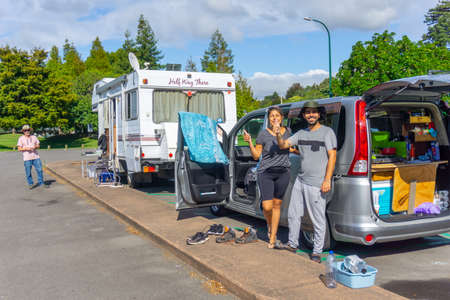 Tauranga New Zealand - March 27 2020; Tourists with nowhere to go for four weeks but seem happy stuck in a  parking area while covid-19 lockdown and isolation rules apply Editorial