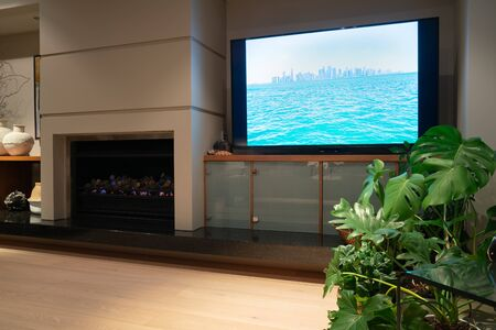 Home interior image trendy decoration and indoor plants with Doha skyline image on television screen. Standard-Bild