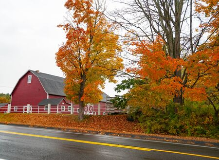 Traditional American style red barn from passing highway in fall with bright foliage in rural USA
