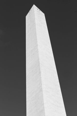 Washington Monument tall obelisk in National Mall Washington DC commemorating George Washington monochrome, USA.