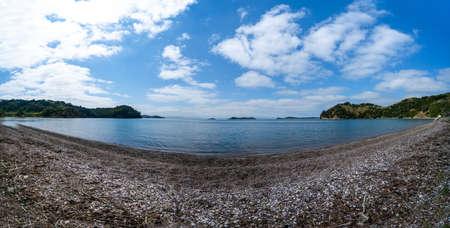 Wide angle Scenic Man O War Bay on Waiheke Island New Zealand Imagens