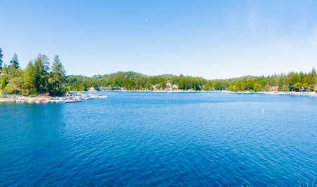 Calm and scenic Lake Arrowhead resort village California USA