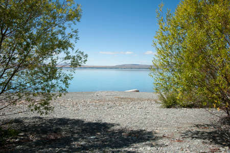 Green foliage and grey stony lake edge and turquoise blue water of snow feed scenic Lake Pukaki in South Ilsand New Zealand. 版權商用圖片 - 161956814