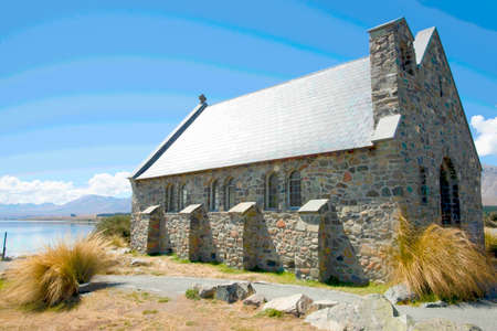 Historic small quaint stone Church of Good Sheppard in Tekapo New Zealand. with posterised curved sky colors