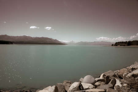 Aged effect image of beautiful Lake Tekapo 版權商用圖片