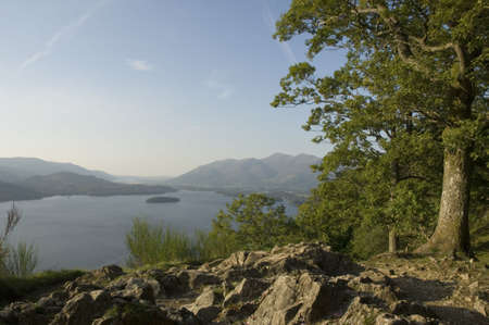 the crag: Derwent Water and Keswick from Friars Crag Stock Photo