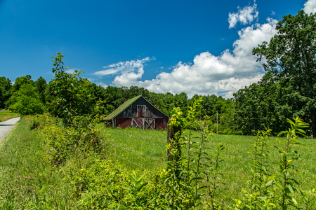 A view of an old barn in the foothills of the Blue Ridge Mountains in Floyd County, Virginia