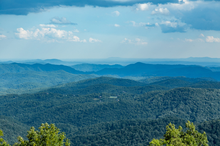 A view of the North Carolina countryside from the Blue Ridge Parkway Stock Photo